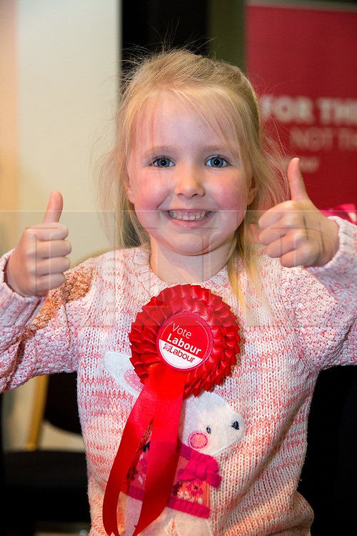 © Licensed to London News Pictures. 6/5/2017. Leicester, UK. Labour Leader JEREMY CORBYN speaking at a rally in Leicester today. Pictured, Eleanor Macey (4) who was at the rally bought along by her grandparents, Valerie and Andrew Marriott and had her rosette signed by Jeremy Corbyn. Photo credit : Dave Warren/LNP