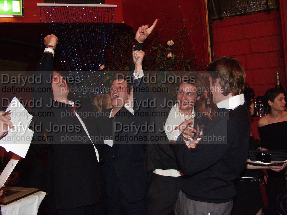Zac Goldsmith, Tom Parker-Bowles, Ben Goldsmith and Ben Elliot. Referendum party poker evening. LEquipe Anglais. Duke St. 20 May 2002. © Copyright Photograph by Dafydd Jones 66 Stockwell Park Rd. London SW9 0DA Tel 020 7733 0108 www.dafjones.com