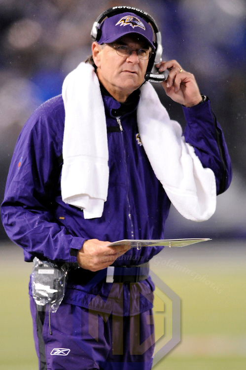 30 December 2007:  Baltimore Ravens head coach Brian Billick coaches the team as they play against the Pittsburgh Steelers in the second half on December 30, 2007 at M&T Bank Stadium in Baltimore, Maryland. The Ravens defeated the Steelers 27-21.  Billick was fired as the head coach on Monday, December 31, 2007 with three years remaining in on his contract.. 30 December 2007:  Baltimore Ravens head coach Brian Billick coaches the team as they play against the Pittsburgh Steelers in the second half on December 30, 2007 at M&T Bank Stadium in Baltimore, Maryland. The Ravens defeated the Steelers 27-21.  Billick was fired as the head coach on Monday, December 31, 2007 with three years remaining in on his contract..