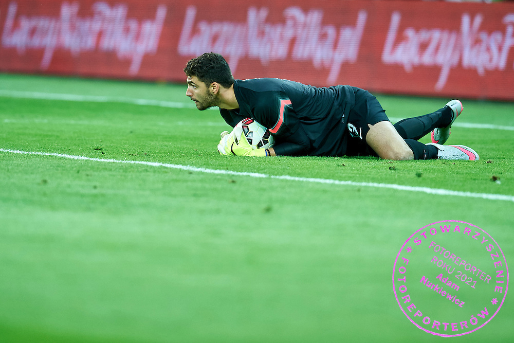 Goalkeeper Stefanos Kapino from Greece saves during international friendly soccer match between Poland and Greece at PGE Arena Stadium on June 16, 2015 in Gdansk, Poland.<br /> Poland, Gdansk, June 16, 2015<br /> <br /> Picture also available in RAW (NEF) or TIFF format on special request.<br /> <br /> For editorial use only. Any commercial or promotional use requires permission.<br /> <br /> Adam Nurkiewicz declares that he has no rights to the image of people at the photographs of his authorship.<br /> <br /> Mandatory credit:<br /> Photo by &copy; Adam Nurkiewicz / Mediasport