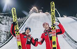 01.03.2020, Salpausselkae Hill, Lahti, FIN, FIS Weltcup Ski Sprung, Herren, Siegerehrung, im Bild 2. Platz Stefan Kraft (AUT), 3. Platz Michael Hayboeck (AUT) // 2nd placed Stefan Kraft of Austria 3rd placed Michael Hayboeck of Austria during the winner ceremony for the men's ski jumping competition of FIS Ski Jumping World Cup at the Salpausselkae Hill in Lahti, Finland on 2020/03/01. EXPA Pictures © 2020, PhotoCredit: EXPA/ JFK