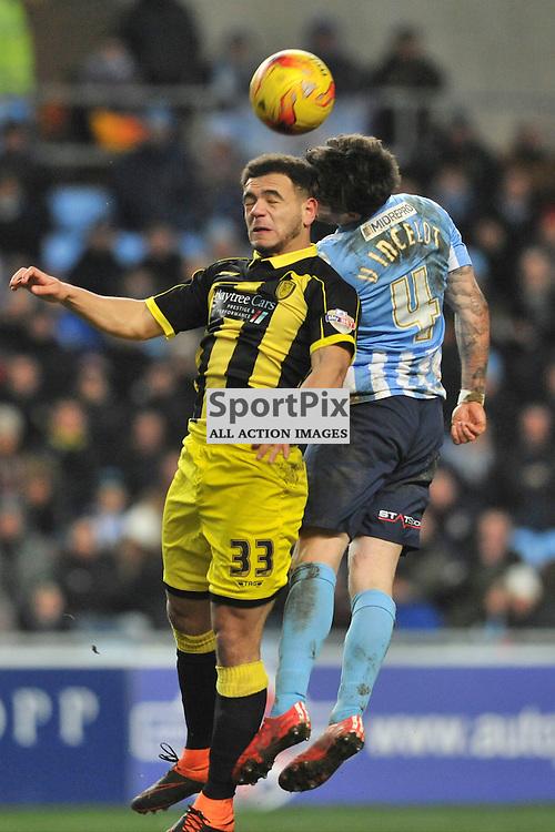 Coventrys Romain Vincelot beats Burtons Mason Bennett, Coventry City v Burton Albion, Ricoh Arena,  Sky Bet League 1, Saturday 16th JJanuary 2016