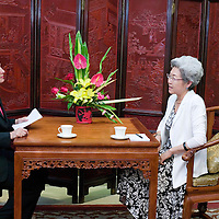 BEIJING, 8/17/2011 : Spiegel correspondent Susanne Koelbl interviews China's vice -foreign minster, Mme Fuying, in the Foreign Ministry.