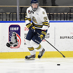 BUFFALO, NY - SEP 20,  2017: Ontario Junior Hockey League Governors Showcase game between the Mississauga Chargers and Whitby Fury, Riley McCutcheon #98 of the Whitby Fury skates with the puck during the second period.<br /> (Photo by Andy Corneau / OJHL Images)