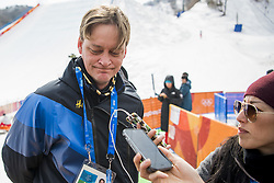 February 18, 2018 - Pyeongchang, SOUTH KOREA - 180218 Lars Markusson, Media Manager of Swedish Olympic Committe is been interviewed by media during the Men's Slopestyle Finale during day nine of the 2018 Winter Olympics on February 18, 2018 in Pyeongchang..Photo: Petter Arvidson / BILDBYRN / kod PA / 91979 (Credit Image: © Petter Arvidson/Bildbyran via ZUMA Press)