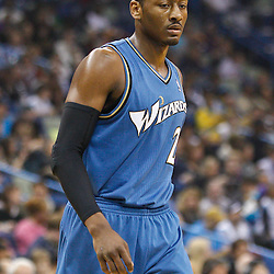 February 1, 2011; New Orleans, LA, USA; Washington Wizards point guard John Wall (2) against the New Orleans Hornets during the first quarter at the New Orleans Arena.   Mandatory Credit: Derick E. Hingle