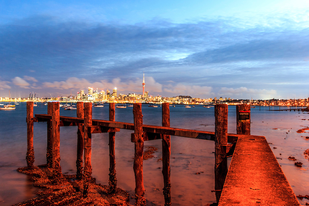auckland city from a disused jetty
