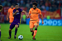 MARIBOR, SLOVENIA - Tuesday, October 17, 2017: Liverpool's Mohamed Salah and NK Maribor's Marwan Kabha during the UEFA Champions League Group E match between NK Maribor and Liverpool at the Stadion Ljudski vrt. (Pic by David Rawcliffe/Propaganda)