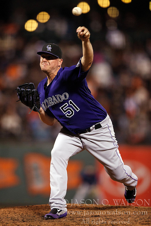 SAN FRANCISCO, CA - SEPTEMBER 29:  Jake McGee #51 of the Colorado Rockies pitches against the San Francisco Giants during the eighth inning at AT&T Park on September 29, 2016 in San Francisco, California. The San Francisco Giants defeated the Colorado Rockies 7-2. (Photo by Jason O. Watson/Getty Images) *** Local Caption *** Jake McGee