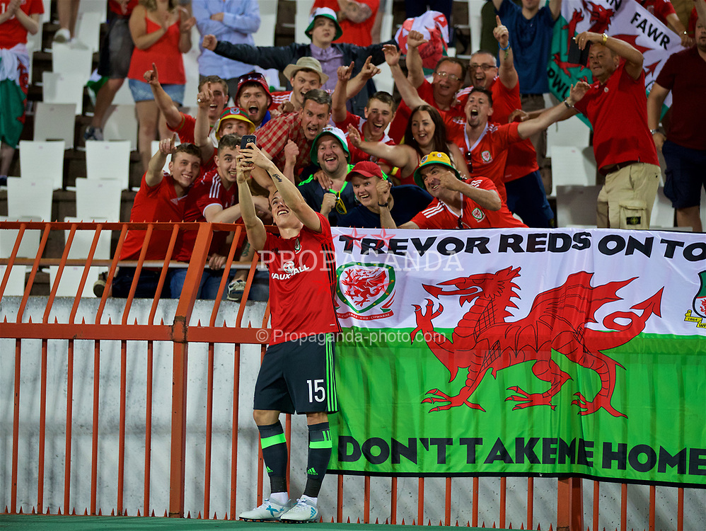BELGRADE, SERBIA - Sunday, June 11, 2017: Wales' Harry Wilson takes a selfie with friends and family after the 2018 FIFA World Cup Qualifying Group D match between Wales and Serbia at the Red Star Stadium. (Pic by David Rawcliffe/Propaganda)