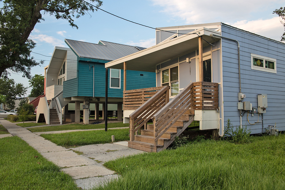 Make it Right housing project, started by Brad Pitt, in New Orleans lower 9th ward following Hurricane Katrina. The homes, designed by different architects make use of solar panels.
