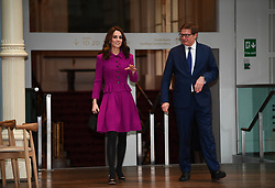 The Duchess of Cambridge arrives at the Royal Opera House in London where she will see the costume department and meet the Royal Ballet principal dancers.