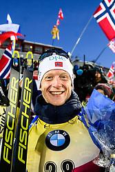 March 9, 2019 - –Stersund, Sweden - 190309 Johannes Thingnes Bö of Norway celebrates after his gold in the Men's 10 KM sprint during the IBU World Championships Biathlon on March 9, 2019 in Östersund..Photo: Petter Arvidson / BILDBYRÃ…N / kod PA / 92252 (Credit Image: © Petter Arvidson/Bildbyran via ZUMA Press)