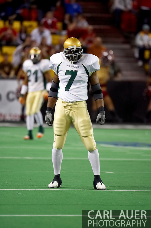 4/12/2007 - James Herring of the Frisco Thunder sets up for the kick off of the IFL season and the kick off of professional football in Alaska.  The Thunder held The Alaska Wild to 33 points, but put 46 Frisco points up to win the game.