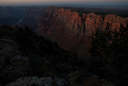 Sunset view of the Grand Canyon from Desert View Watchtower, South Rim. Grand Canyon National Park, Arizona.