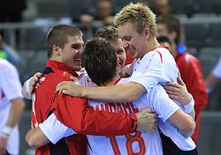 Vegard Samdahl (18) and Havard Tvedten of Norway celebrate after21st Men's World Handball Championship preliminary Group D match between Norway and Egypt, on January 19, 2009, in Arena Zatika, Porec, Croatia. Win of Norway 30:20.(Photo by Vid Ponikvar / Sportida)