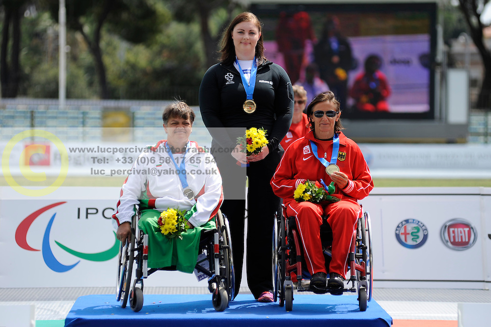 14 / 06 / 2016, Orla Barry (Ladysbridge, Co. Cork), Leevale Athletic Club, , pictured on the podium with her gold medal, F57 class discus, alongside Ivanka Koleva, left, of Bulgaria, second place, and Martina Willing, right, of Germany, third place, at the 2016 IPC Athletics European Championships in Grosseto, Italy.