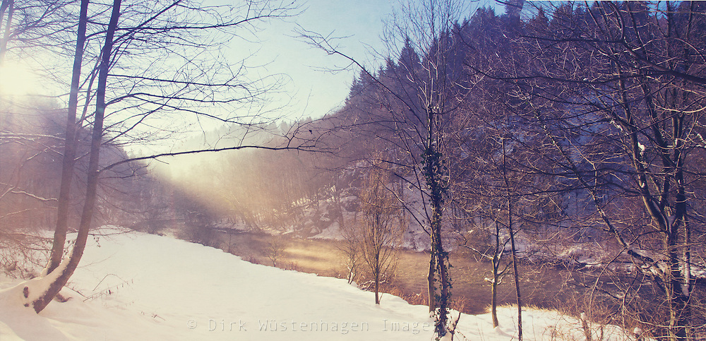 Winter morning on the banks of river Wupper, Germany.<br />