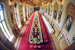 WINDSOR, ENGLAND 12-JUNE -2001 Preparations for the State Banquet in honour of the State Visit by President Mbeki of South Africa in St Georges Hall, WIndsor Castle. .Photo by Ian Jones...