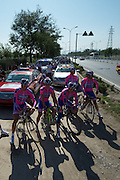 Lampre riders led the first few kilometers of the mass training ride from a roadside pull off on the outskirts of Beijing.