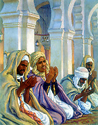 Moslems in prayer.  Illustration by E. Dinet (1861-1929) for La Vie de Mohammed, prophete d'Allah.