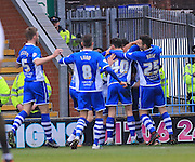 Nathaniel Mendez-Laing celebrations 2-0  during the Sky Bet League 1 match between Rochdale and Bury at Spotland, Rochdale, England on 12 March 2016. Photo by Daniel Youngs.