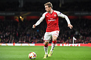 Arsenal Defender Nacho Monreal (18) in action during the Europa League match between Arsenal and CSKA Moscow at the Emirates Stadium, London, England on 5 April 2018. Picture by Stephen Wright.