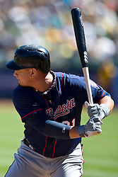 OAKLAND, CA - SEPTEMBER 22: Oswaldo Arcia #31 of the Minnesota Twins at bat against the Oakland Athletics during the first inning at O.co Coliseum on September 22, 2013 in Oakland, California. The Oakland Athletics defeated the Minnesota Twins 11-7 as they clinched the American League West Division. (Photo by Jason O. Watson/Getty Images) *** Local Caption *** Oswaldo Arcia