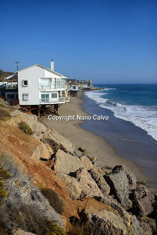 Beach front homes along Pacific Coast Highway in Malibu, California