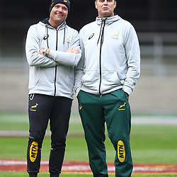 Jacques Nienaber (Defence Coach) of South Africa and Rassie Erasmus (Head Coach) of South Africa during the South African - Springbok Captain's Run at DHL Newlands Stadium. Cape Town.South Africa. 22,06,2018 23,06,2018 Photo by (Steve Haag JMP)