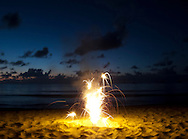 Fourth of July fireworks at Pine Trees in Hanalei, Kauai, HI, USA