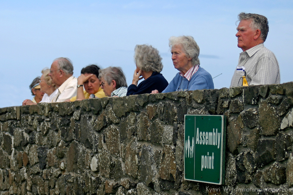 Europe, Ireland, Northern Ireland, Bushmills. Assembly Point for visitors at Dunluce Castle.