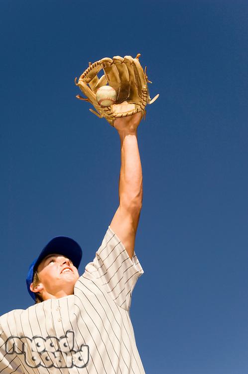 Baseball Player Catching Baseball