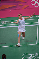 Susan Eglestaff, Great Britain, on her way to winning 21-15 21-10 against Maja Tvrdy of Slovinia, Olympic Badminton London Wembley 2012