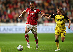 Bailey Wright of Bristol City battles for the ball with Jamie Allen of Burton Albion - Mandatory by-line: Gary Day/JMP - 13/10/2017 - FOOTBALL - Ashton Gate Stadium - Bristol, England - Bristol City v Burton Albion - Sky Bet Championship