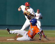 Nebraska shortstop Joe Simokaitis forces out Florida's Gavin Dickey (17) at second base and throws to first to complete the inning ending double play.  Florida defeated Nebraska in the second round of the College World Series 7-4 at Rosenblatt Stadium in Omaha, Nebraska on June 19, 2005.