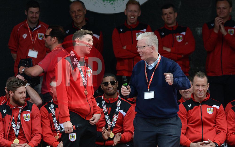Bristol City Goalkeeper, Frank Fielding speaks with David Lloyd - Photo mandatory by-line: Dougie Allward/JMP - Mobile: 07966 386802 - 04/05/2015 - SPORT - Football - Bristol -  - Bristol City Celebration Tour