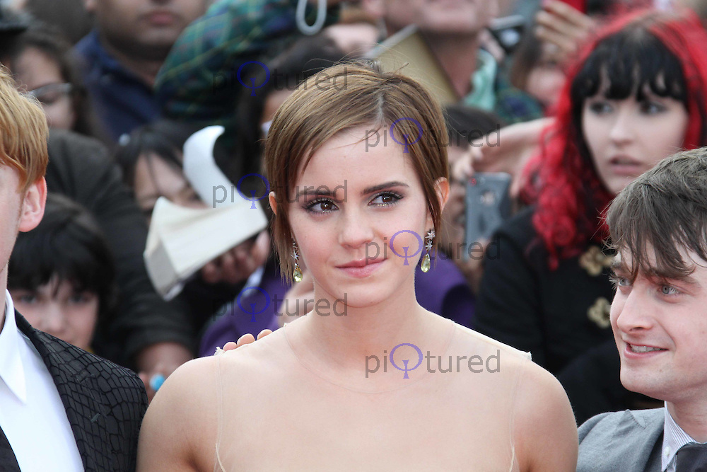 Rupert Grint; Emma Watson; Daniel Radcliffe Harry Potter and the Deathly Hallows part 2 World Premiere, Trafalgar Square, London, UK, 07 July 2011:  Contact: Rich@Piqtured.com +44(0)7941 079620 (Picture by Richard Goldschmidt)