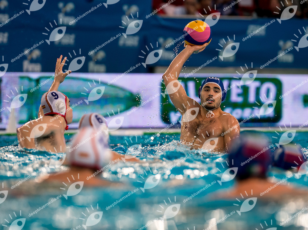 2 Francesco DI FULVIO ITA <br /> FINA Men's Water polo Olympic Games Qualifications Tournament 2016<br /> semi-final<br /> Spain ESP (White) Vs Italy ITA (Blue)<br /> Trieste, Italy - Swimming Pool Bruno Bianchi<br /> Day 07  09-04-2016<br /> Photo G.Scala/Insidefoto/Deepbluemedia
