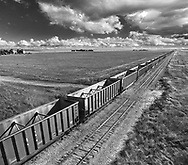 A long train waiting to be loaded up, Eastern Colorado, USA