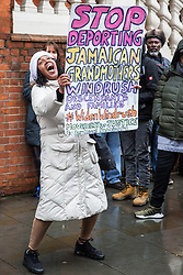 London, UK. 4th February, 2019. Descendants of the Windrush generation and activists from Movement for Justice and other campaign groups opposed to the Government's hostile environment policy protest outside the Jamaican High Commission against plans by the Home Office and Jamaican government to recommence mass deportation charter flights on 6th February. The enforced removals are reported to include people who came to the UK as children and parents with British children and the deportation flight would be the first since March 2017 and the Windrush scandal.