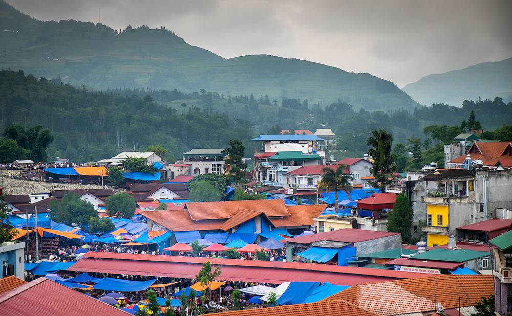 BAC HA, VIETNAM - CIRCA SEPTEMBER 2014:  Rooftops at Bac Ha sunday market, the biggest minority people market in Northern Vietnam