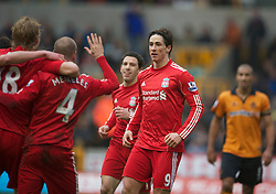 WOLVERHAMPTON, ENGLAND - Saturday, January 22, 2011: Liverpool's Fernando Torres celebrates scoring the opening goal against Wolverhampton Wanderers during the Premiership match at Molineux. (Photo by David Rawcliffe/Propaganda)