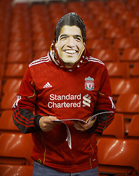 LIVERPOOL, ENGLAND - Monday, February 6, 2012: A Liverpool supporter wearing a Luis Alberto Suarez Diaz mask before the Premiership match against Tottenham Hotspur at Anfield. (Pic by David Rawcliffe/Propaganda)