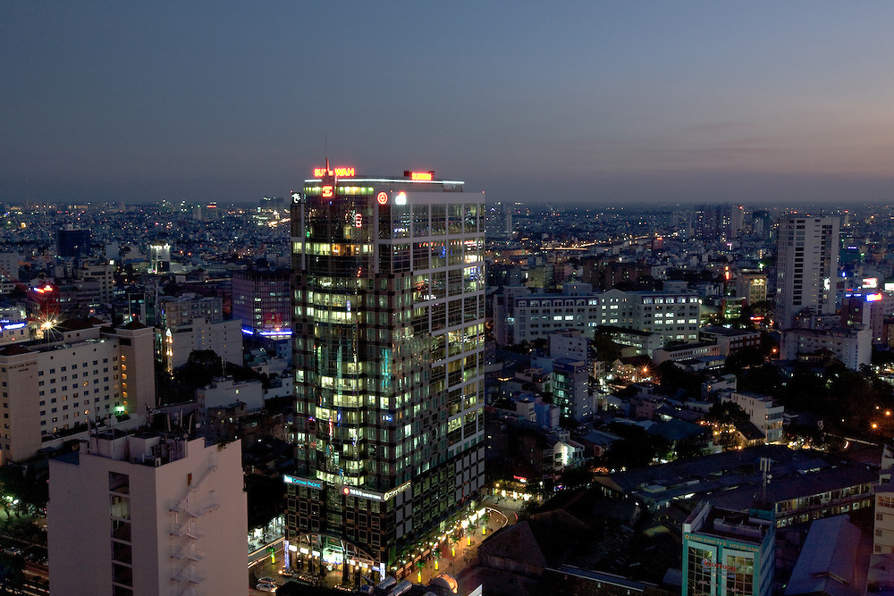 Saigon's District 1, the city's central business district at night. This is the centre of Vietnam's booming economy.