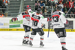 12.12.2014, Curt Fenzel Stadion, Augsburg, GER, DEL, Augsburger Panther vs Koelner Haie, 26. Runde, im Bild l-r: Torjubel von Chris Minard #41 (Koelner Haie), Jamie Johnson #10 (Koelner Haie) und Mike Iggulden #73 (Koelner Haie) // during Germans DEL Icehockey League 26th round match between Augsburger Panther vs Koelner Haie at the Curt Fenzel Stadion in Augsburg, Germany on 2014/12/12. EXPA Pictures © 2014, PhotoCredit: EXPA/ Eibner-Pressefoto/ Kolbert<br /> <br /> *****ATTENTION - OUT of GER*****