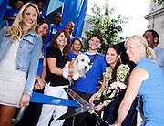 """Katrina Bowden and Vanessa Lachey cut ribbon as P&G Launches """"Everyday Effect Campaign"""" in Herald Square in New York City, New York on June 19, 2013."""