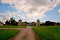 The fairytale Chateau de Commarin seen from the entrance drive.