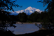 Alaska2010.-The sun shines on Denali the largest mountain in North America located in Denali National Park Alaska.