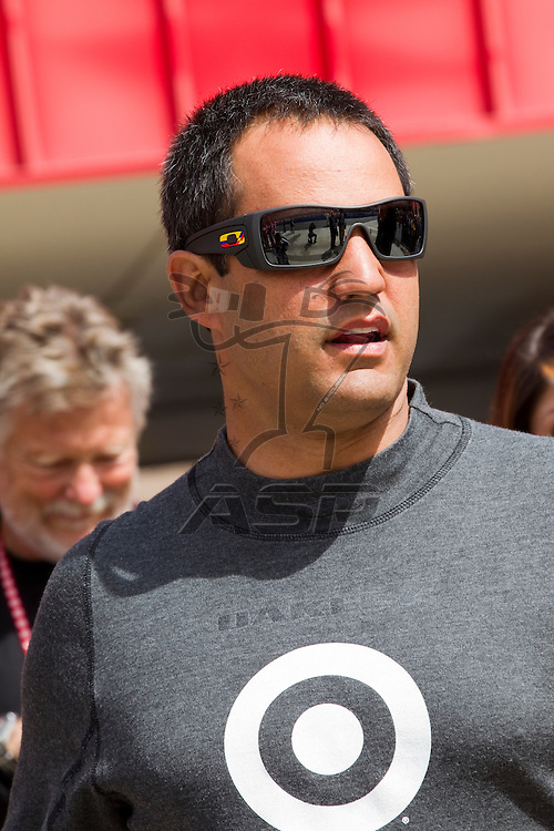 FONTANA, CA - MAR 27, 2011:  Juan Pablo Montoya (42) before the start of the Auto Club 400 race at the Auto Club Speedway in Fontana, CA.